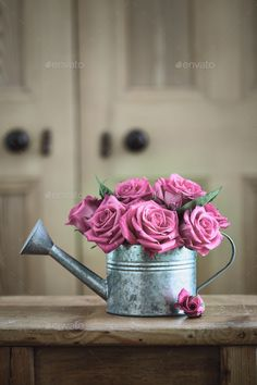 Buy Vintage watering can with roses by RuthBlack on PhotoDune. Vintage watering can with roses Flower Centerpieces, Flower Arrangements, Love Flowers, Beautiful Flowers, Shabby Chic, Coming Up Roses, Green Nature, Watering Can, Watercolor Flowers