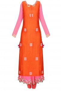 Pink and Orange Embroidered Layer Kalidaar Set # suit Indian Anarkali, Anarkali Dress, Lehenga, Salwar Kameez, Salwar Suits, Suits For Women, Ladies Suits, Pernia Pop Up Shop, Sherwani