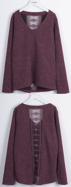 Take this burgundy piece with free shipping&easy return! This lace sheer top is detailed with V-neck&long sleeve! So chic&cozy at Cupshe.com