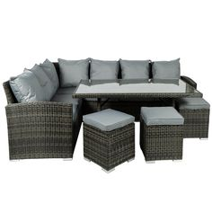 Buy the Monaco Rattan Effect Corner Dining Set at Robert Dyas online. Next Day Home Delivery available.