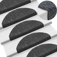 vidaXL Self-adhesive Stair Mats Needle Punch Dark Grey Tread Pad for sale online Sisal, Stair Mats, Carpet Mat, Stair Treads, Australia Living, Dark Grey, Stairs, Home And Garden, Punch