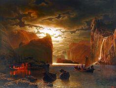 Pêchant près d'un Fjord au Clair de Lune, by Marcus Larson