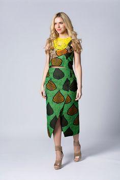Longtemps Wax print skirt, jupe taille haute, jupe de Batik, jupe verte, jupe…