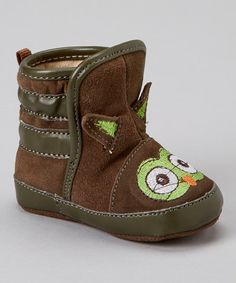Look at this #zulilyfind! Piccolo Bambino Brown Suede Owl Moosy Bootie by Piccolo Bambino #zulilyfinds