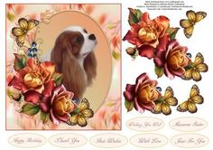 Cavalier King and Roses Topper with Decoupage on Craftsuprint - Add To Basket!