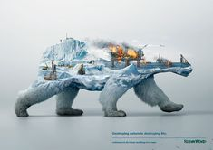 """""""Destroying nature is destroying life"""" – This time Illusion were on assignment to help Robin Wood, the environmental activists, by creating three powerful full CG visuals to raise public awareness of the ongoing destruction of animals' natural habitats. Double Exposition, Graphisches Design, Grid Design, Robin, Habitat Destruction, Plakat Design, Awareness Campaign, Environmental Art, Environmental Protection Poster"""