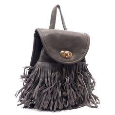 HOST PICK 11/08/15Gray Fringe Backpack Charcoal Gray fashion Fringe Backpack/Shoulder Bag. Faux leather, with turn-lock closure, gold-tone hardware, and detachable shoulder strap. Bags Backpacks