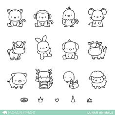 MAMA ELEPHANT: Lunar Animals x 6 Clear Photopolymer Stamp Set) Set includes Lunar Animals: seventeen image stamps. *Coordinates with Lunar Animals Creative Cuts die. Doodle Drawings, Easy Drawings, Doodle Art, Simple Animal Drawings, Drawings Of Animals, Tier Doodles, Mama Elephant Stamps, Elephant Doodle, Animal Doodles