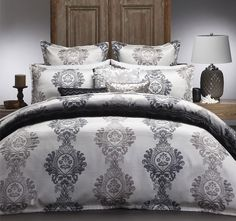 Bayview Pearl Super King by Logan & Mason. This Bayview Pearl Super King quilt cover set has damask style motif on ribbed and textured polyester. Quilt Cover Sets, Linen Bedding, Bed Linen, Queen Duvet, Ribbed Fabric, Duvet Sets, Queen Size, Modern Furniture, Duvet Covers