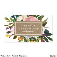 Grow your business with these Vintage Rustic Florals Business Cards. Each business card can be customized to fit your needs by Zazzle!  custom business cards - cute business card - floral business card- chic business card - rustic business cards - vintage business cards