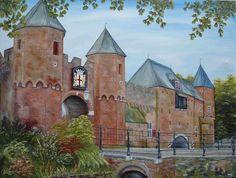 schilderij 70 x 50 cm Koppelpoort uit de 2 de ommuring van Amersfoort www.adtolboom