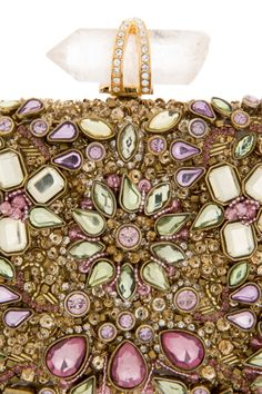 Lily Floral Crystal And Bead Clutch by Marchesa
