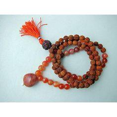 Mogulinterior Second Chakra Energy Mala Carnelian Rudraksha Beads Japamala 108+1