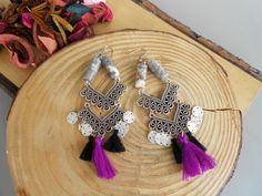 tassel earrings,coin earrings,handmade earrings,boho jewelry,bohemian jewelry,bohemian fashion,tassel jewelry,jwls,handmade jewelry,jasper