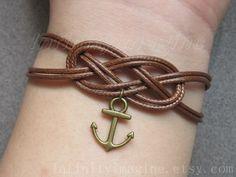 noeud bracelet, double corde de peau de serpent infini bracelet, brun avec bracelet en laiton mignon ancre, meilleur choisi cadeau à un ami