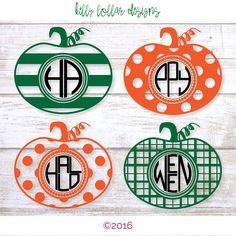 4 Pumpkin Monogram svg | Monogram Frame svg | Halloween Monogram svg | Cutting…
