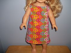 American 18 Inch Doll Clothes dress is colorful with peace signs on it by sue18inchdollclothes on Etsy