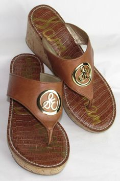 5118d8cad6fa SAM EDELMAN womens Shoes 7.5 RUTH Wedge Thong Sandals Brown SE Platform 3