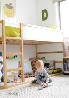 top bunk for C and mattress on floor for A- could work...