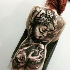 15 Trendy Animal Headpiece Tattoos - Sexy people with tatoo's - Back Tattoos, Hot Tattoos, Great Tattoos, Trendy Tattoos, Beautiful Tattoos, Body Art Tattoos, Sleeve Tattoos, Tattoos For Women, Woman Body Tattoo