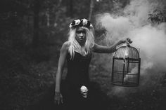 Horror photography in Bristol, with an antique birdcage, smoke bomb, homemade tulle skirt and flower crown. All taken in the woods in Bristol. Smoke Bomb Photography, Horror Photography, Halloween Photography, Woods Photography, Autumn Photography, Portrait Photography, Photography Ideas, Creepy Photography, Themed Photography