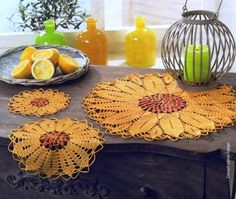 Crochet sunflowers placemat ♥LC♥with diagram
