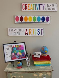 creativity takes courage  hand painted sign by barnowlprimitives perfect for a playroom or kids art space.  pair with your favorite art work to make a great display wall for all those art projects you've been wanting to show off.