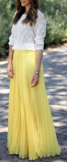 Embroidered Blouse & Pleated Maxi Skirt <3