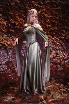 Elven Dress by Lillyxandra female half elf wedding bridal gown cosplay costume LARP LRP armor clothes clothing fashion player character npc Elf Cosplay, Elf Costume, Cosplay Dress, Costume Halloween, Costume Dress, Armor Clothing, Fantasy Gowns, Fairy Dress, Medieval Dress