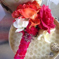 Orange and Pink Bouquet - Wedding Bouquet - Fuchsia Bouquet - Hot Pink Bouquet - True Touch Rose Bouquet - Bold Pink Rose Bouquet - pinned by pin4etsy.com