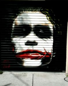 The Jocker, Homage to Heath Ledger. Graffiti on a rollerdoor in Port Melbourne, Victoria, Australia. Melbourne Graffiti, Street Graffiti, Graffiti Art, Street Art, Love Art, All Art, Melbourne Victoria, Victoria Australia, Amazing Art