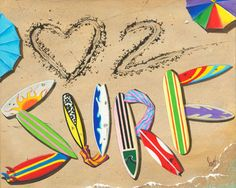 Painted by Scott Westmoreland, the Love to Surf wall mural from Murals Your Way will add a distinctive touch to any room. Choose a pre-set size, or customize to your wall. Kids Room Murals, Wall Murals, Kids Rooms, Wall Art, Murals Your Way, Surf Decor, Learn To Surf, Surf Shack, Surf Art