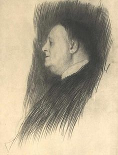 gustav klimt - drawing, profile of man