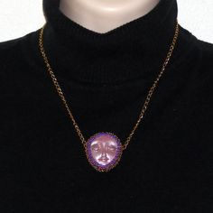 Beautiful Polymer Clay Face Purple and Gold Dot by craftsbyJeri