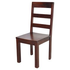 Acacia side chair with a slatted back.  Product: ChairConstruction Material: Acacia woodColor: Brown