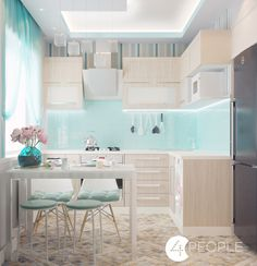 Dreamy blond wood and pale turquoise kitchen with airy feel