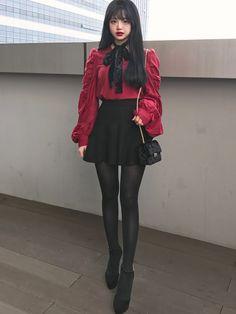 Korean Street Fashion - Life Is Fun Silo Ulzzang Fashion, Harajuku Fashion, Kawaii Fashion, Lolita Fashion, Cute Fashion, Girl Fashion, Fashion Dresses, Fashion Design, Cool Outfits