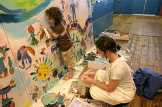 Adding collaged elements to the mural by Tracy McGuinness Kelly School Entrance, Art School, Interior Painting, Artist, Environment, Inspiration, Education, Building, Ideas
