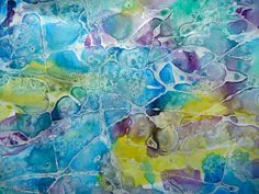 2. Paint over the dried glue with watercolour paints. Sprinkle salt on sections of the painting while it is still wet. Once it dries, you'll notice how the salt absorbs the surrounding water and pushes the pigment away, leaving behind a white, speckled effect
