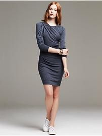 Ruched Navy Jersey Dress