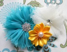 Fall Teal Shabby Chiffon Flower with by LaBellaRoseBoutique, $7.75