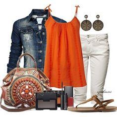 denim, orange & white outfit