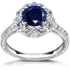Annello 14k White Gold Round Blue Sapphire and 1/5ct TDW Diamond... ($1,717) ❤ liked on Polyvore featuring jewelry, rings, accessories, engagement rings, 14k diamond ring, diamond rings, pave diamond ring and heart shaped engagement rings
