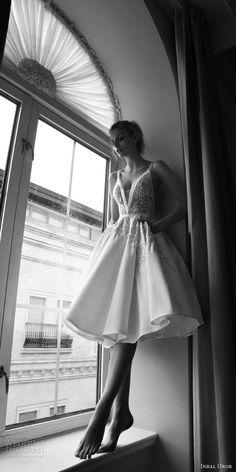 inbal dror 2016 wedding dress with sleeveless thick strap v neck ball gown short wedding dress embellished bodice style 18 mv