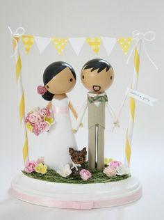 custom wedding cake topper  with bunting by lollipopworkshop, $185.00
