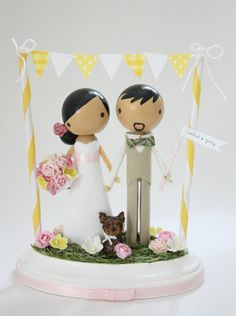 custom wedding cake topper with bunting by lollipopworkshop -- more yellow than tiff blue. wilson.THIS ONE.