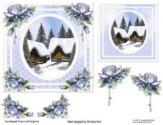 A beautiful winter festive Christmas scene with lace and beautiful blue flowers makes a really beautiful card comes with elements shown on the craft sheet