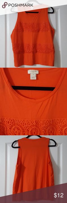 """J.Crew Lace-Panel Tank Top in Ripe Papaya Cotton jersey  Slightly loose fit  Lace front detail  In Ripe Papaya  Approx. 24"""" length, 19"""" across bust  In Excellent Pre-worn condition J.Crew Tops Tank Tops"""