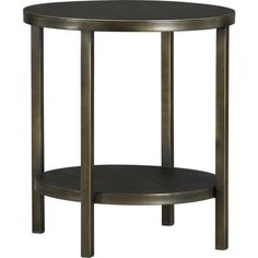 "Crate & Barrel Echelon Round Side Table, welded iron with bronze powdercoat  20"" diameter x 22"" high"