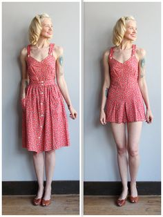 Late 1930s Playsuit & Skirt set ~Red floral print with white buttons ~Button front straps ~Button back closure on playsuit ~Full skirt with